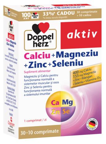 30+10 GRATUIT Doppelherz aktiv Calciu+Magneziu+Zinc+Seleniu