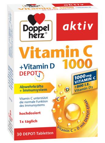 Doppelherz aktiv Vitamina C 1000 + Vitamina D DEPOT